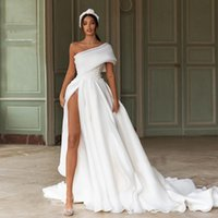 One Shoulder High Split Wedding Dresses with Bow Tie Lace Appliques Court Train Organza Plus Size Bridal Gowns