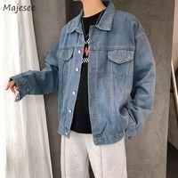 Men's Jackets Men Denim Solid Turn-down Collar Comfortable Long Sleeve Mens Jacket Korean Style Pockets Single Breasted Tops