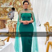 Elegant Long Cape Green Evening Dress Bead Neck Sheath Tulle Black Women Birthday Party Prom Formal Gowns Vestido De Festa