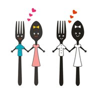 Wall Stickers Cute Couple Spoon Fork Design Mural Art Sticker For Kitchen Decoration Dining Cutlery