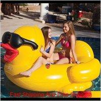 Pool flutua jangada 82.6 * 70.8 * 43.3inch natação pato amarelo flutua jangada engrossar gigante pvc pato inflável piscina flutua tube jangada dh1136 jc km1zh