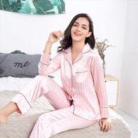Summer Pajamas Sets Pink Striped Women Sleepwear Silk Two Pieces Shirts Pants Nighties Satin Pyjamas Plus Size 3xl
