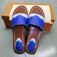 여성 escale 잠금 플랫 노새 슬리퍼 디자이너 샌들 패션 페인트 캔버스 캐주얼 신발 최고 품질 여름 야외 해변 크기 35-42