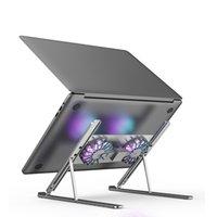 Cadre de refroidissement de cadenache de cahier pliant Backet Tablet Tablet Comportement Alliage en aluminium Silicone à 8 vitesses Hauteur réglable à double ventilateur radiateur ordinateur portable refroidisseur