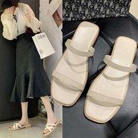 2021 Yaz Yeni Korece Basit Sandalet Ile Kalın Bayan Açık Toe Düşük Topuk Bir Hatta Moda Plaj Ayakkabı