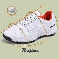 Golf shoes R. Xjian Shoes Men Waterproof Sports Professional Women's Button Breathing Antislip Outdoor 0908