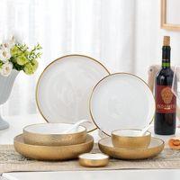 Plaques et plats en céramique en céramique rondes et plats de vaisselle de couleurs solides bol de riz à soupe plaque profonde accessoires de cuisine écologique