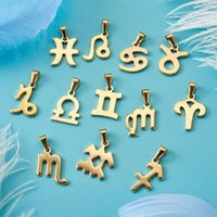 Charms 24pcs box 304 Stainless Steel Pendant Charm 12 Constellations Zodiac Signs For Jewelry Making DIY Bracelet Necklace Craft