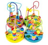 Деревянная игрушка Красочные круглые мини бусины проволоки лабиринт игра образовательный круг бусины раннее развитие игрушки (случайный цвет)