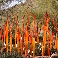 Verre de Murano Reeds en verre soufflé à la main Spear pour décoration de jardin Sculpture orange pour la maison d'hôtel de plein air