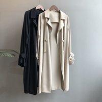 Women's Trench Coats Gabardina feminina clssica, casaco de outono tamanho grande com botes para mulheres b60, novo, UDTW