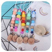 Pacifier Holder Clips Rainbow Bead Chain Colorful Baby Feeding Accessories Original Design Infant Gift Toys
