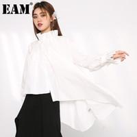 Женские блузки Рубашки [EAM] Женщины Нерегулярные белые плиссированные длинные большие размеры блузки стоят воротник рукав рубашка мода весна осень 2021 1U314