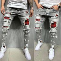 Pantaloni patch stampati da uomo con tappetini da uomo Jeans Slim Jeans personalizzati Patch Jeans Stretch