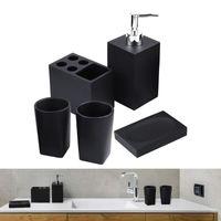 Bath Accessory Set Bathroom Sink Accessories Marble Look Resin Restroom Apartment Soap Dispenser Toothbrush Holder Decor 5PCS