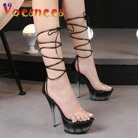 Sandals Transparent PVC Gradient Color Frosting Platform Ankle Strappy Party Dress Stilettos Fashion Summer Wedding Woman Shoes
