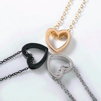 Pendant Necklaces Fashion Design Heart Necklace Black Gold Silver Color Simple Hollow Jewellery The Of Birthday Treat Love