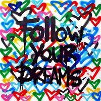 Следуйте своим мечтам Огромная живопись маслом на холсте домашний декор Рекрета / HD Print Wall Art Picture Chationsation приемлема 21052606