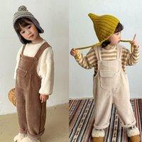 Tulumlar BOBOTCNUNU 2021 Çocuk Erkek Kız Tulum Kıyafetler Bahar Sonbahar Pamuk Tulum Moda Kolsuz Sling Giysileri Cep Ile