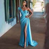 Light Blue One Shoulder Mermaid Evening Dresses High Sexy Side Split Beaded Formal Prom Party Second Reception Special Occasion Gowns