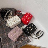 Mädchen Kette Handtasche Frauen Mini Eine Umhängetasche 2021 Neue Mode Kinder Einzelner Schultertasche Kinder Rivet Messenger Bag C6945
