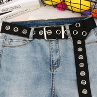 Belts Long Personality Harajuku Casual Ring Black Metal Belt Students Jean Canvas Waist Tide Silver Pin Buckle