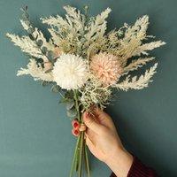 Decorative Flowers & Wreaths White Artificial Flower High Quality Silk Dandelion Eucalyptus Hybrid Bouquet Wedding Home Party False