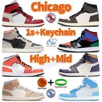 High 1 1s Buty do koszykówki Chicago Unc Proszek Niebieski Mężczyźni Trampki Sportowe Trenerzy Kanion Rust Shadow Mediolan Podczerwieni 23 Wilk Gray Sail Chaussures