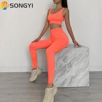 Songyi Women Yoga Set Fitness Traje deportivo Ropa de deporte Gimnasio Sólido Ropa Tops Sin mangas Tops Medias Talaginas de cintura altas Pantalones de entrenamiento I152