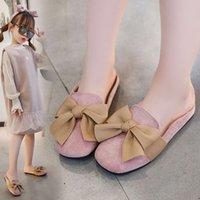 Terlik İlkbahar Yaz 2021 Yeni Kızın Sandalet Baotou Yarım Sürükle Yay Öğrencinin Tek Ayakkabı Orta ve Büyük Çocuk
