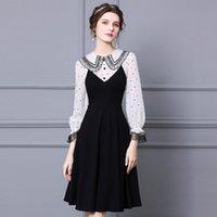 Французские ретро платья Hepburn Deementement 2021 Новая мода Весна Осень Высокое Концевая Волна Точка Кружева Slim A-Line Skirt Plus XXXL 8KKW