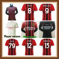 21 22 AC Jersey Milan Rossoneri Hayranları Futbol Oyuncu Sürüm Formaları Ibrahimovic Tonali Rebic Romagnoli Çalhanoğlu Futbol Gömlek Erkekler Kid Üniformalı Polo