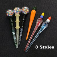 Hot 3 Styles Heady Glass Wax Dabber Tool Unique Carrot Dab Tool Glass Pipe Carving Tool Dab Stick Nail Smoking Accessories For Pipe Bong