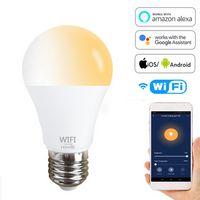 E27 WiFi Smart LED Lampadina Google Assistant Amazon Alexa Voice Control Lamp E26 B22 Timer Dimmeraglio Bulb Bulb Lampadina fredda Luce bianca E26 B22