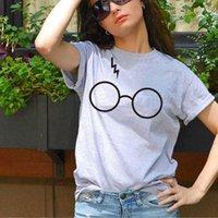 2021 Mode Rundhalsausschnitt Kurzarm Harry Potter Brille Gedruckt Cartoon Lose T-Shirt für Frauen