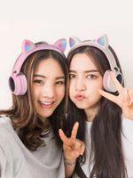 LED Cat Ear Bluetooth Headphones for Kids Girl Pink Cute Wireless Headsets Cartoon Stereo Headband Earphones TF Slot Aux Mic