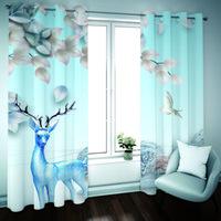 Cortina da sala de estar da sala de visitas 3D Cortinas para a janela Animal Cozinha Cortinas Blackout