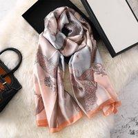Шарфы 2021 летние женщины шелковый шарф пляж хаджаб шали и обертывания женские футшевки ECHARPE дизайнер Бандана