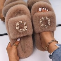 Slippers Fur Slides For Women Fluffy Flip Flops Designer Rhinestone Wreath Sandals Platform Winter Custom Warm Shoes