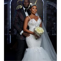 Modest African Plus Size 2021 Mermaid Wedding Gowns Spaghetti Sweetheart Major Beading Backless Lace Tiered Skirts Bride Dresses