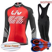 Equipo bicicleta liv mujeres invierno vellón térmico ciclismo jersey traje mangas largas MTB Bike Ropa Calentador Bicicleta Deportes Uniforme Y082701