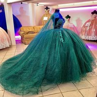 2022 Hunter Green Ball Gown Quinceanera Dresses Beads Lace Appliques Off Shoulder Formal Prom Gowns Sweet 16 Dress vestido de 15 anos