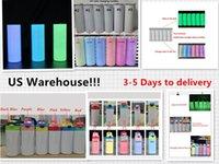 Yerel Depo !!! Süblimasyon Tumbler karanlıkta Glow Tumbler UV Renk Değiştirme Tumbler 20 oz Düz Çocuk Şişe Sippy Kupası Sihirli Seyahat Kupası