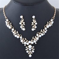 Earrings & Necklace 2021 Bohemian Fashion Crystal Sets For Women Trendy Metal Simple Pearl Party Jewelery Accessories Gift