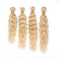 Extensões de trama de cabelo humano de lixívia malaia molhado e ondulado 4 pcs lote # 613 loira virgem remy pacotes de cabelo humano acomoda wave waveves