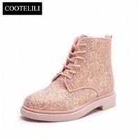 Cootelili Spring Женщины Bootle Boots Плоские каблуки Sequins Обувь Женщина Повседневная Ботины Муджеру Кружева Удар Белые пинетки Black Plus Размер 40 39ME #