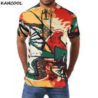 Kancool hombres hawaii camisa verano colorido retro calle estilo camisa étnico impreso botón de manga corta playa suelta tapa