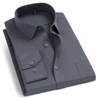Men's Fashion Long Sleeve Basic Dress Shirts Single Patch Pocket Formal Business Standard-fit Work Office Plaid striped Shirt 210730