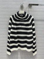 2021 Осенняя черепаха шеи с длинным рукавом полосатый женский свитер высокого класса жаккардовый кардиган женская дизайнерская футболка 0527-9