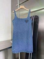 Frauen Kleid Sleeveless Denim-Hemd für Frühling Sommer Outwear Casual Style mit Budge Brief Dame Slim Kleider Gürtel gefaltete Rock Button Zipper Büste Tops
